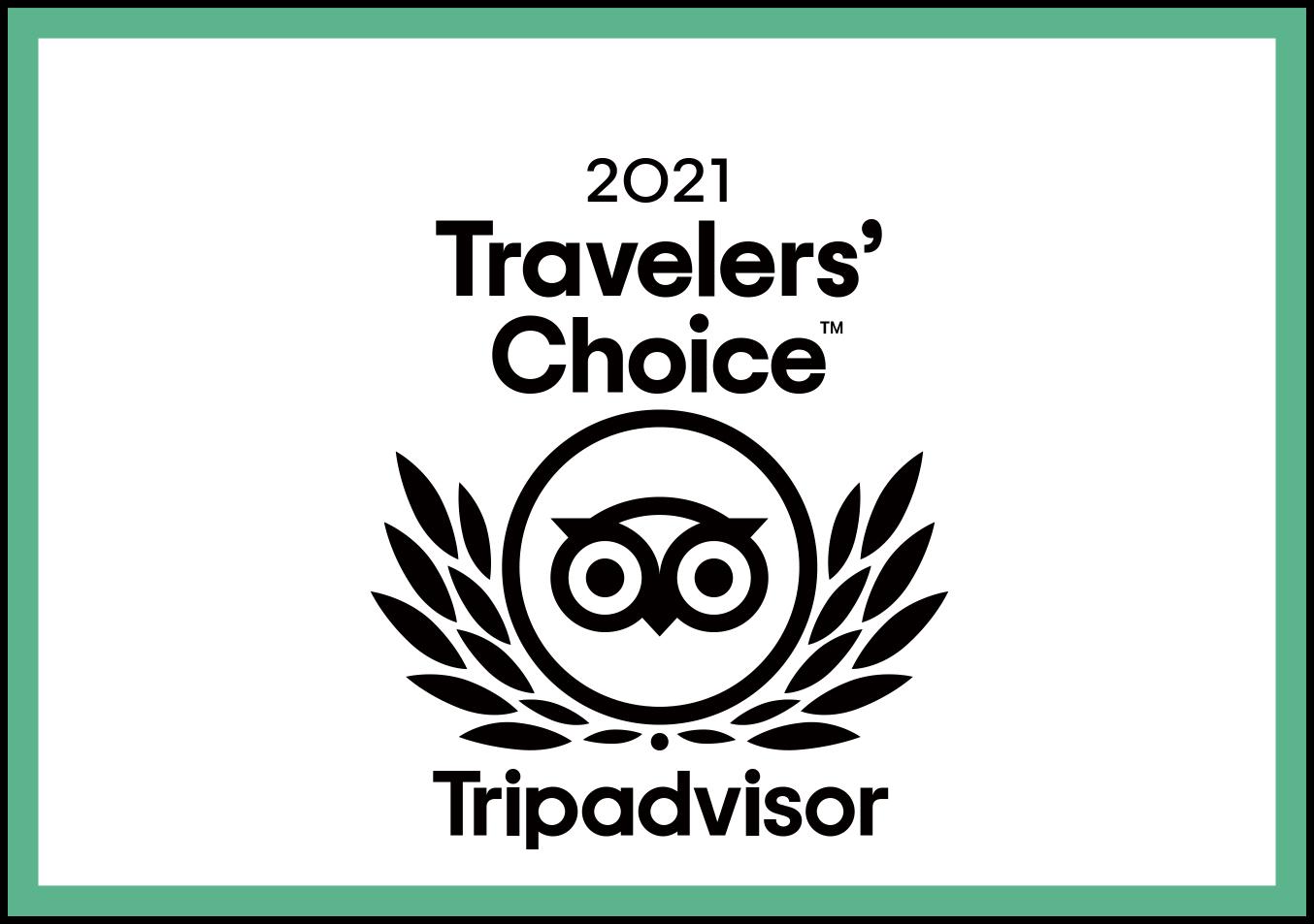 トリップアドバイザーのトラベラーズチョイスアワード2021を受賞しました